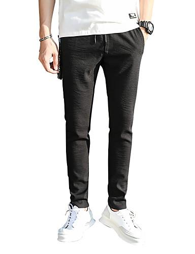 בגדי ריקוד גברים סגנון רחוב מידות גדולות כותנה סקיני צ'ינו מכנסיים אחיד