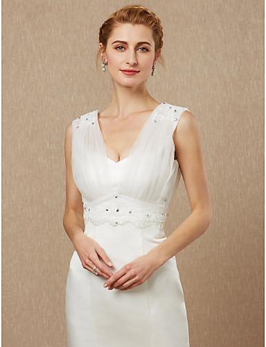 abordables Boléros de Mariage-Sans Manches Tulle Mariage / Fête / Soirée Etoles de Femme Avec Billes / Appliques / Bouton Vestes