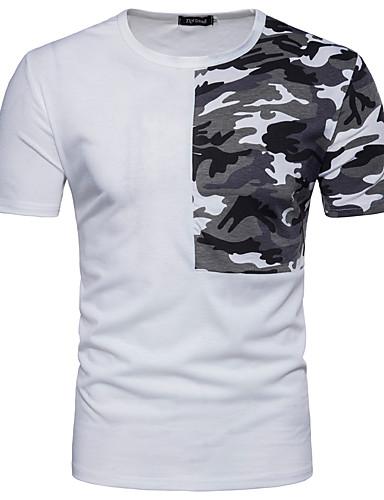 0d1e15fa4add Pánské - Jednobarevné Tričko Bavlna Kulatý Bílá L   Krátký rukáv   Léto