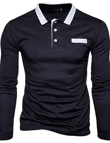 אחיד צווארון חולצה סגנון סיני כותנה / פוליאסטר, טישרט - בגדי ריקוד גברים / אנא בחר\י מידה אחת גדולה יותר מהמידה הנורמלית שלך.