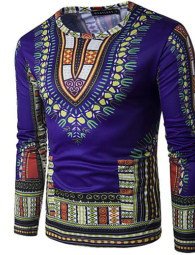 גיאומטרי צווארון עגול טישרט - בגדי ריקוד גברים / שרוול ארוך