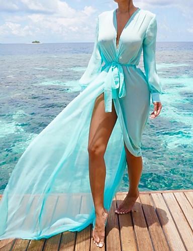 저렴한 커버 업-여성용 보호 급경사 네클라인 푸른 오렌지 퍼플 높은 전압 커버업 수영복 - 솔리드 리본 M L XL 푸른 / 섹시