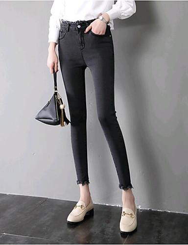 Damskie Bawełna Szczupła Jeansy Spodnie Solidne kolory