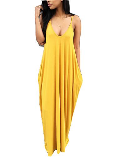 baratos Vestidos Longos-Mulheres Feriado Para Noite Boho Solto Camiseta Vestido Sólido Com Alças Longo / Sexy
