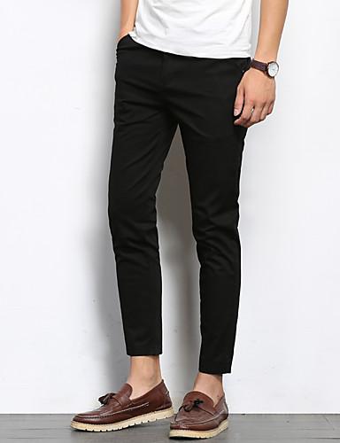 Męskie Moda miejska Bawełna Szczupła Garnitury / Typu Chino Spodnie - Solidne kolory Z baskinką Czarny / Lato
