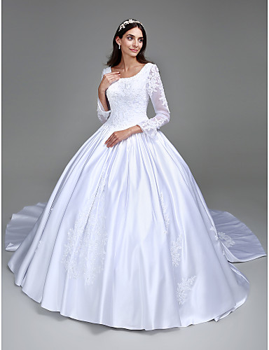 Ball Gown Square Neck Cathedral Train Satin Custom Wedding Dresses with Beading Appliques by LAN TING BRIDE®