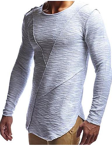 אחיד צווארון עגול רזה בסיסי / סגנון רחוב ספורט כותנה, טישרט - בגדי ריקוד גברים / שרוול ארוך / ארוך