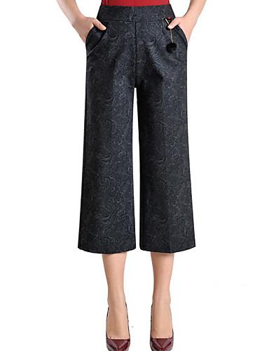 בגדי ריקוד נשים כותנה ישר / צ'ינו מכנסיים - גיזרה גבוהה גיאומטרי / אביב / קיץ
