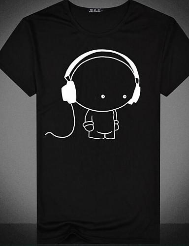 voordelige Uitverkoop-Heren Standaard Print T-shirt Grafisch / Cartoon Ronde hals Wit / Korte mouw / Zomer