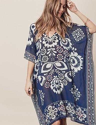 abordables Hauts pour Femmes-Femme Bohème Bleu Vêtement couvrant Maillots de Bain - Fleur Imprimé Taille unique Bleu