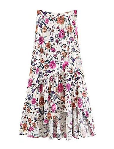 פרחוני - חצאיות כותנה נדנדה בגדי ריקוד נשים