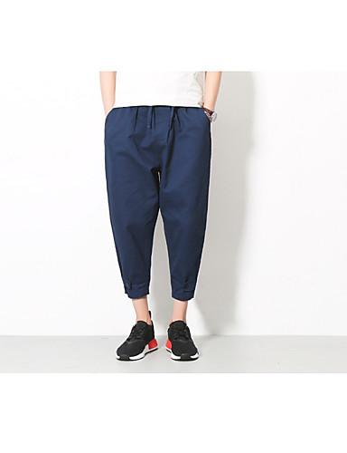 Męskie Bawełna Luźna Typu Chino Spodnie - Haft, Solidne kolory