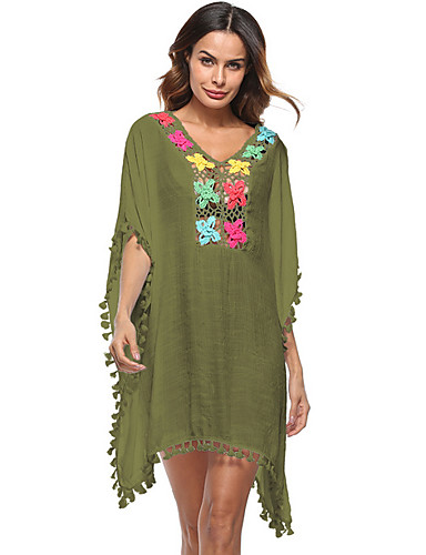 a6c74aabb3 Women s Boho Daily Holiday Boho Street chic Loose Loose Dress - Color Block  V Neck Summer Orange Red Army Green One-Size