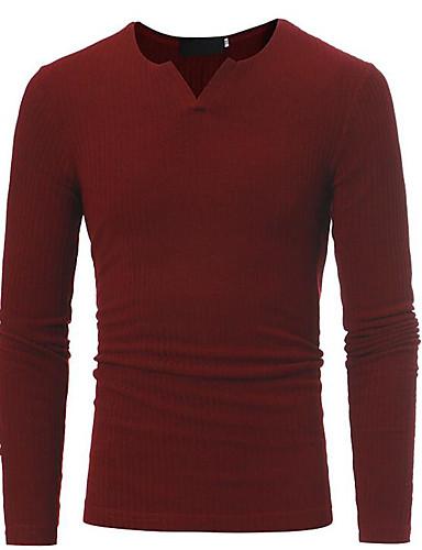 אחיד צווארון עגול בסיסי / סגנון סיני טישרט - בגדי ריקוד גברים / שרוול ארוך / ארוך