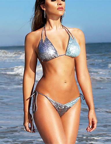 Damen Halter Silber Dreieck Cheeky-Bikinihose Bikinis Bademode - Einfarbig Pailletten M L XL Silber / Sexy