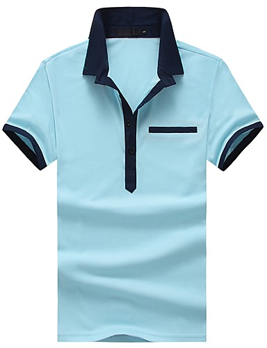 אחיד גיאומטרי קולור בלוק צווארון חולצה רזה כותנה, Polo - בגדי ריקוד גברים טלאים