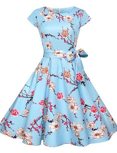 396511de87d6 Dame I-byen-tøj Vintage Gade Tynd Swing Kjole - Blomstret