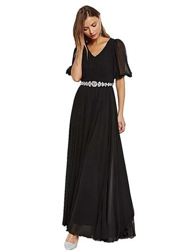 Damskie Moda miejska Latarnia rękawem Pochwa T Shirt Szyfon Sukienka - Jendolity kolor, Wycięcia Maxi