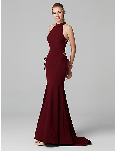 cheap Evening Dresses-Mermaid / Trumpet Halter Neck Sweep / Brush Train Spandex Prom / Formal Evening Dress with Hollow-out by TS Couture®