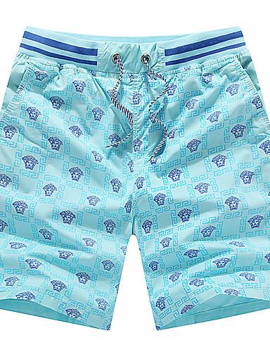 Męskie Sportowy Rozmiar plus Bawełna Szczupła Typu Chino / Krótkie spodnie Spodnie - Nadruk, Geometryczny