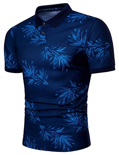 preiswerte Herren Polo Shirts-Herrn Bäume / Blätter - Aktiv Übergrössen Polo, Hemdkragen Schlank Druck Blau XL / Kurzarm / Sommer