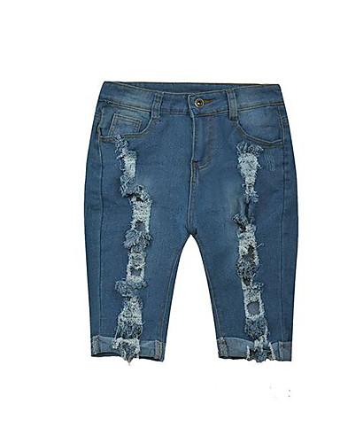 Damskie Puszysta Jeansy Spodnie Solidne kolory