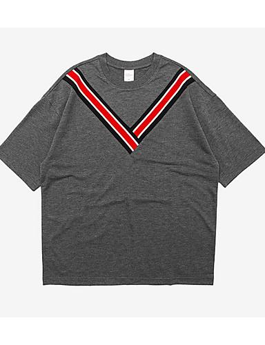 פסים צווארון עגול סגנון רחוב טישרט - בגדי ריקוד גברים / שרוולים קצרים / ארוך
