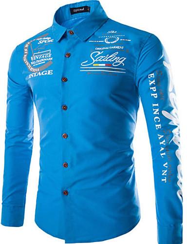 hesapli Erkek Gömlekleri-Erkek Pamuklu Dik Yaka İnce - Gömlek Temel, Geometrik Koyu Mavi / Uzun Kollu