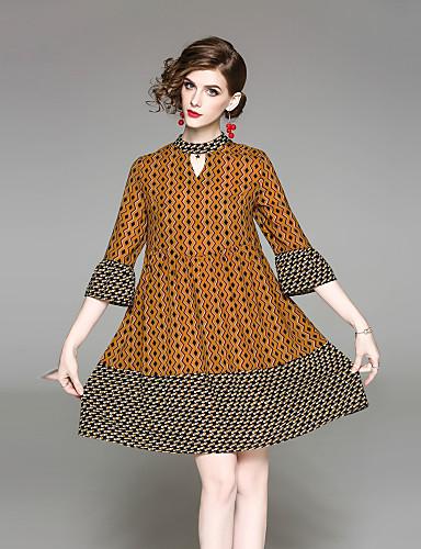 דפוס, פרחוני - שמלה גזרת A נדן שרוול התלקחות בגדי ריקוד נשים
