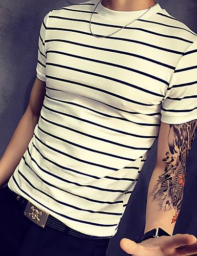 9416e2dc7e75 Ανδρικά T-shirt Βασικό - Βαμβάκι Ριγέ Στρογγυλή Λαιμόκοψη Λεπτό Στάμπα  Ρουμπίνι XXXL   Κοντομάνικο   Καλοκαίρι   Μακρύ