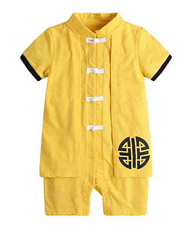Dítě Chlapecké Čínské vzory Denní / Dovolená Tisk Klasický styl / Základní Krátké rukávy Bavlna Kombinézy Světlá růžová