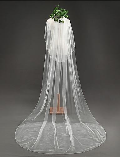 שתי שכבות Klassinen הינומות חתונה צעיפי קתדרלה עם גדילים (פרנזים) טול