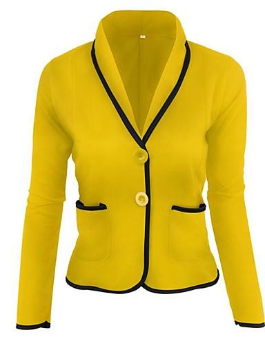 billige Dametopper-Skjortekrage Sett Dame - Ensfarget Chinoiserie Gul