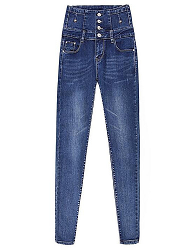Damskie Moda miejska Bawełna Rurki Jeansy Spodnie Solidne kolory Wysoka talia