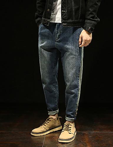 Męskie Luźna Jeansy Spodnie - Solidne kolory Nadruk Niebieski 36