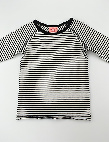7e85f9b91797 Toddler Girls  Casual   Active   Basic Daily Striped   Color Block Stripe    Knitted   Mixed Color 3 4 Length Sleeve Regular Cotton Tee Black   Print