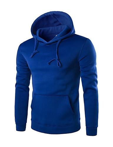 Męskie Moda miejska Bluza z Kapturem - Jendolity kolor