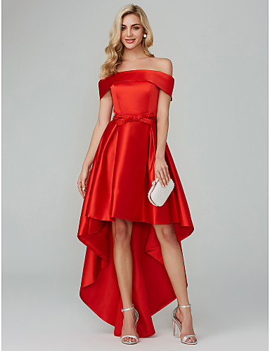 f4d97cfe9a64 A-Line Off Shoulder Asymmetrical Satin Cocktail Party Dress with Bow(s) by  TS Couture®
