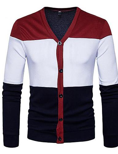 Męskie Moda miejska W serek Sweter rozpinany Kolorowy blok Długi rękaw