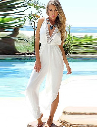 83e87a8e75e Women s Backless Party   Holiday Street chic V Neck   Deep V White Jumpsuit