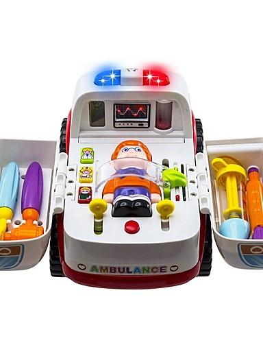 billige Lekebiler i støpejern-2-in-1 Ambulance Doctor Vehicle Set Lekebiler Ambulanse Kjøretøy Foreldre-barninteraksjon A Grade ABS Plastikk Barne Gutt Jente Leketøy Gave