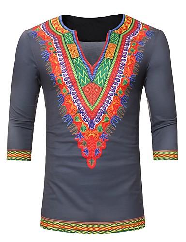 T-shirt Męskie Podstawowy, Nadruk W serek Geometric Shape