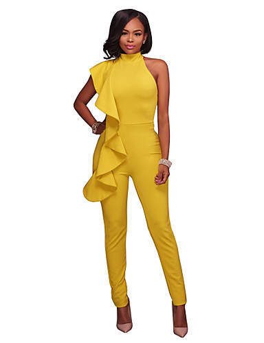 49e8053076c Women's Daily / Holiday Street chic Turtleneck Black Yellow Royal Blue  Harem Slim Jumpsuit, Solid Colored Ruffle M L XL High Waist Cotton  Sleeveless Spring ...