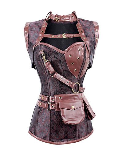 levne Kostýmy z dávných časů-Steampunk Korzet Dámské Kostým Červená Retro Cosplay Bez rukávů