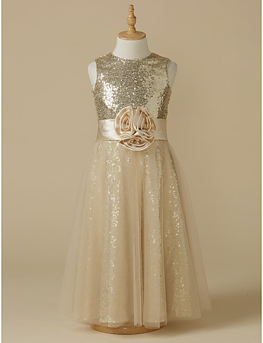 A-Line Knee Length Flower Girl Dress - Satin / Tulle Sleeveless Jewel Neck with Sequin / Sash / Ribbon / Flower by LAN TING Express