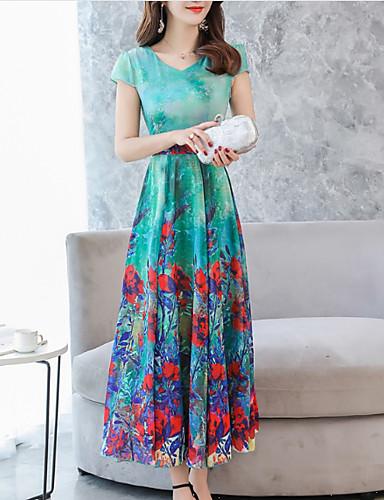 Damskie Rozmiar plus Urlop / Wyjściowe Wyrafinowany styl Bawełna Sukienka swingowa Sukienka - Kwiaty, Nadruk Maxi / Lato