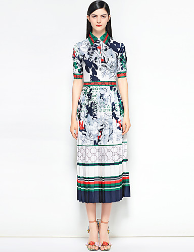 af6dad95254c Women's Floral Daily / Holiday Vintage / Street chic Slim Swing Dress -  Floral / Abstract Shirt Collar Spring Cotton White M L XL