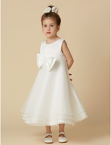 A-Line Tea Length Flower Girl Dress - Organza   Satin Sleeveless Jewel Neck  with Bow(s)   Buttons by LAN TING BRIDE® e275f505c3e0