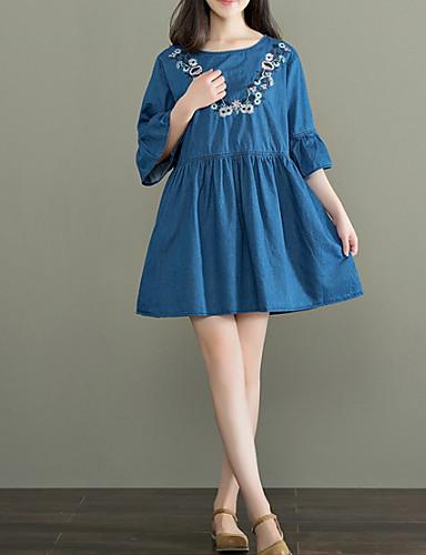 Damskie Podstawowy Shift Sukienka - Jendolity kolor Przed kolano