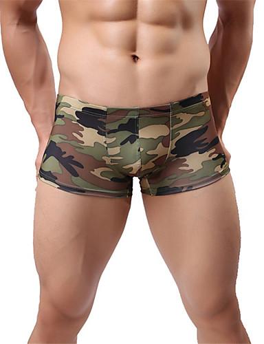 halpa Miesten eksoottiset alusvaatteet-Miesten Nylon Seksikäs Bokserit - naamiointi, Perus Matala vyötärö
